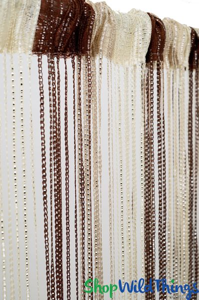 """String Curtains - Sparkle Brown-Tan-Cream Mix w/Tension Rod - 6' 4"""" Long"""
