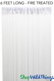 "String Curtain White 3ft x 6ft  - Fire Treated - Polyester & Cotton ""Nassau"""