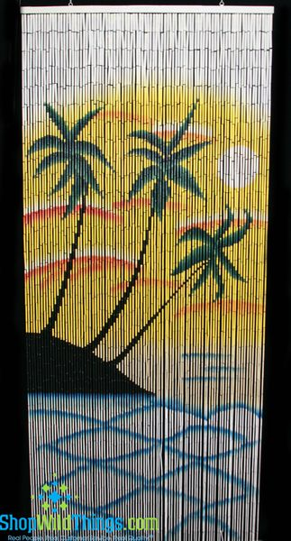COMING SOON! Sunset Palm Scene Painted Bamboo Curtain