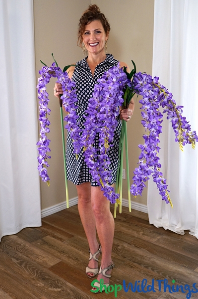 "Super Premium Cascading Silk Flowers - 66"" Purple"
