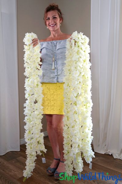 """COMING SOON! Super Premium Double Sided Delphinium Waterfall Garland - 7' 8"""" Ivory"""