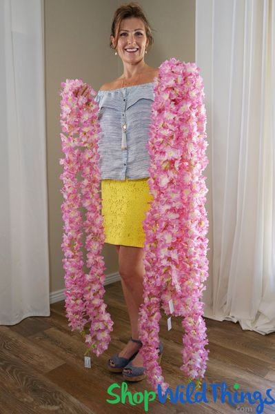 "COMING SOON! Super Premium Double Sided Delphinium Waterfall Garland - 7' 8"" Pink"