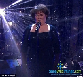 Susan Boyle on Dancing with the Stars - Silver Bubbles Beaded Curtains