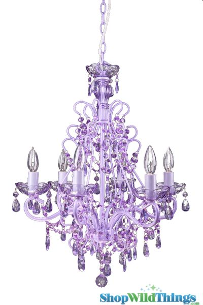 "Chandelier ""Sweet Pea"" Purple Decadent - 21"" x 21"" x 25"" - 6 Lights - Hardwire"