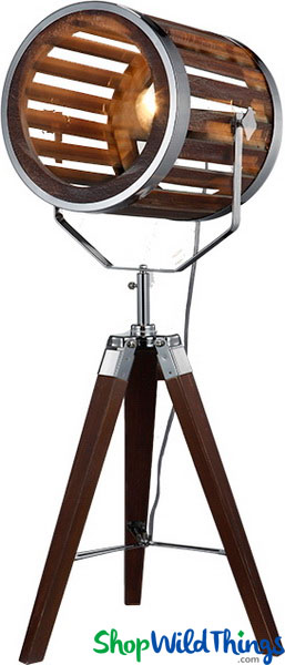 "COMING SOON! SALE ! Table Lamp ""The Director"" Wood Tripod Par Can Light"