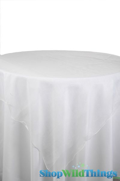 """Table Topper Sheer Organza 80"""" Square Overlay- Ruffled Edge � White"""