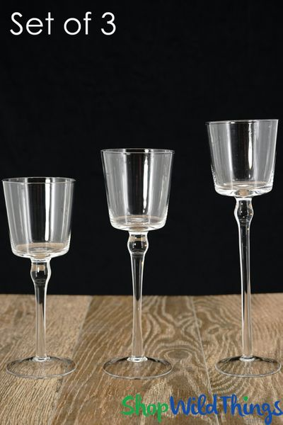"Tall Glass Candle Holders - Set of 3 - Cylinders & Long Stem - 8"", 9"", 10"""