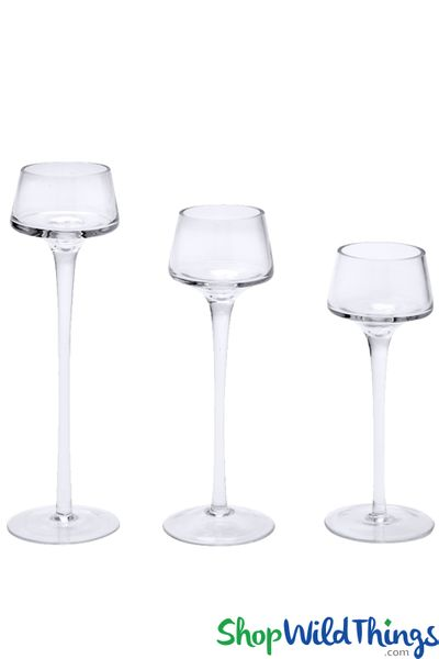 "Tall Glass Candle Holders - Set of 3 - Long Stem - 8"", 9"", 10 1/4"""