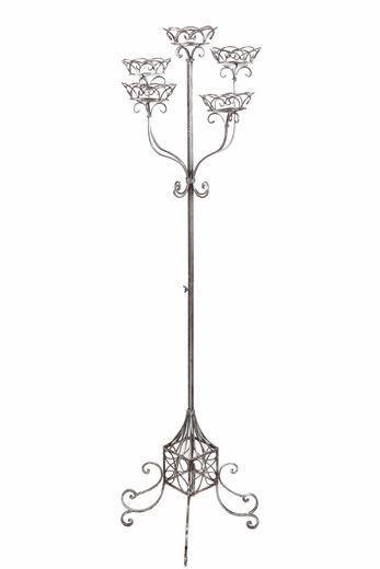 "COMING SOON! Floral Stand ""Deville"" 60.5""H - Antique Silver - Holds 5 Pots or Large Candles"