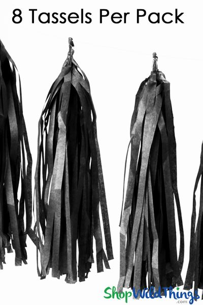 "SALE ! Tissue Paper Garland Tassels, 12"" Long Black"