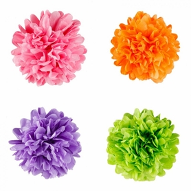 "Tissue Paper Pom Poms - 12"" to 20"" Assorted Colors"