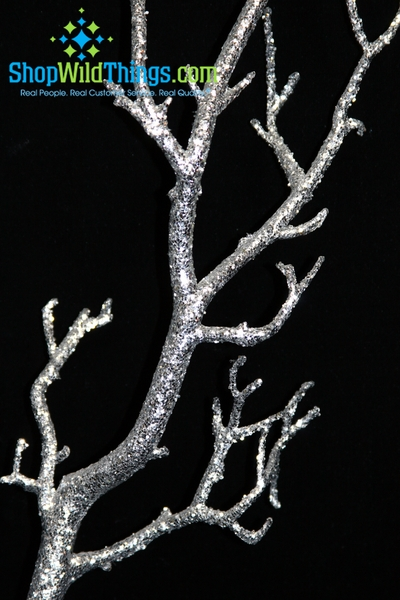 "COMING SOON! Tree Branch, Heavy Silver Glitter, Bendable - Manzanita 31"" Tall"