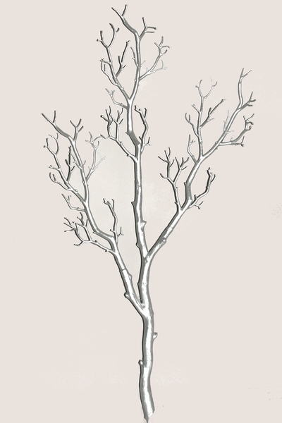 "Tree Branch, Silver (Light Glitter), Bendable Manzanita 31"" Tall"