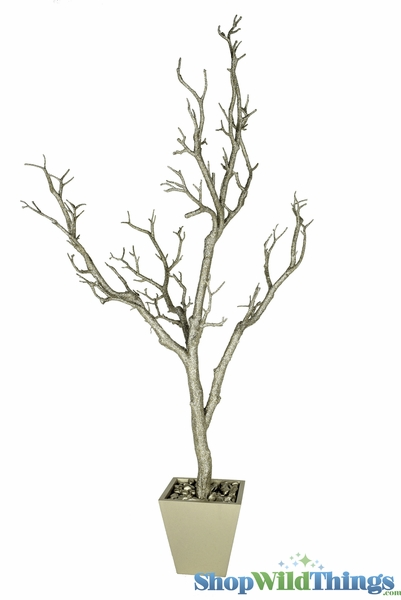 Tree in Pot, 3' Tall, Light Champagne Glitter Bendable Manzanita