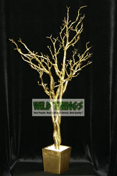 Tree in Pot, 4 Feet Tall - Bright Gold Glitter (Bendable!)