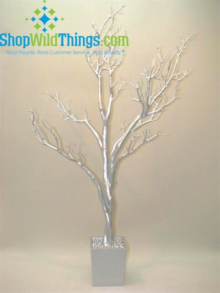 Coming Soon!  Tree in Pot, 4 Feet Tall - Bright Silver NO Glitter (Bendable!)