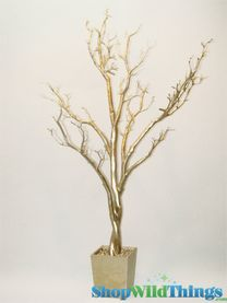 Tree in Pot, 4 Feet Tall - Gold  - Bendable