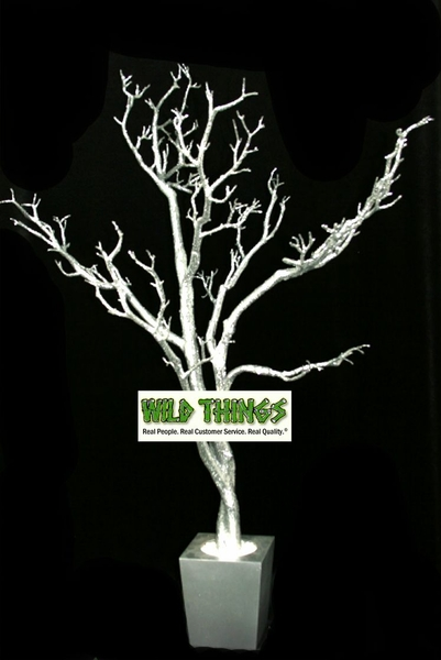 COMING SOON! Tree in Pot, 4 Feet Tall  - Silver w/ Heavy Glitter - Bendable!