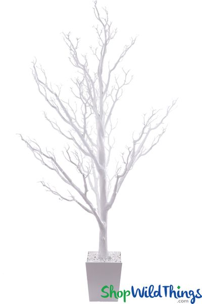 Artificial Manzanita Tree in Pot, 6 Feet Tall - Bright White (Bendable!)