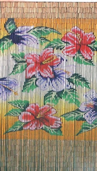 COMING SOON! Tropical Flower Beauty Bamboo Painted Beaded Curtain