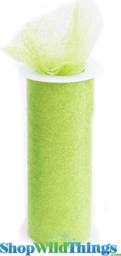 "SALE ! Tulle Roll w/Glitter, Apple Green 6"" x 10 yds"