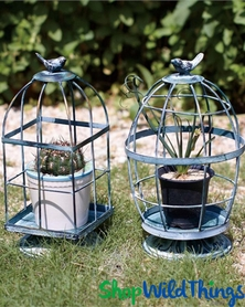 """Tweetie Birds"" Birdcages for Centerpieces - Set of 2 Asst - Green Antiqued Metal 11.5"" Tall"