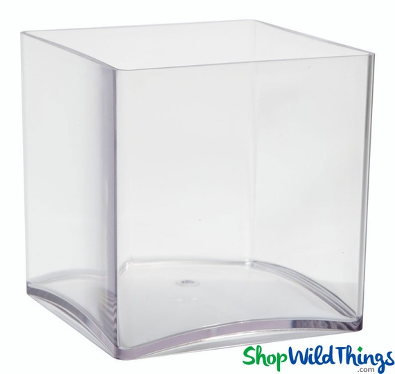 Vase - Acrylic Square - Clear 4in x 4in x 4in - Lightweight