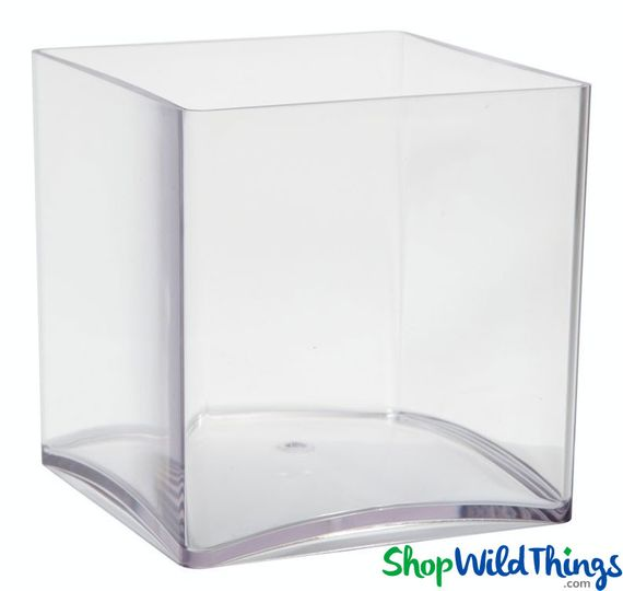 Vase - Acrylic Square - Clear 5in x 5in x 5in - Lightweight