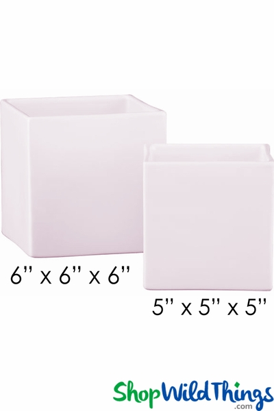 COMING SOON! Vase - Acrylic Square - White/Ballerina Pink - 6in x 6in x 6in