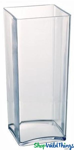 Vase - Acrylic Square / Rectangle Clear 5in x 5in x 18in