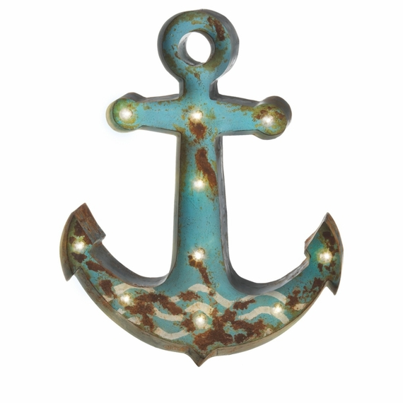 """SALE ! Vintage Marquee Sign - SeaFoam Green Iron Anchor LED Light, 28"""" x 22"""" - Battery Operated - Metal Body"""
