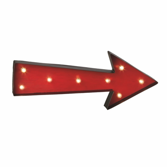 "COMING SOON! Vintage Marquee Sign - Metal Red Arrow LED Marque Light, 23"" x 9"" - Battery Operated - Metal Body"