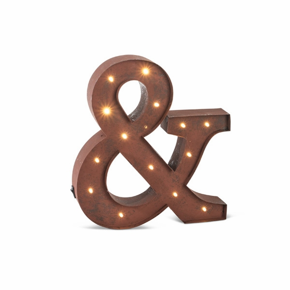 "Vintage Style Marquee LED Lighted ""&"" Sign, Rustic Brown, 12"" - Metal w/ Timer - Metal Body"