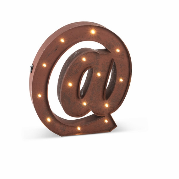 "SALE ! Vintage Style Marquee LED Lighted ""@"" Sign, Rustic Brown, 12"" - Metal w/ Timer - Metal Body"