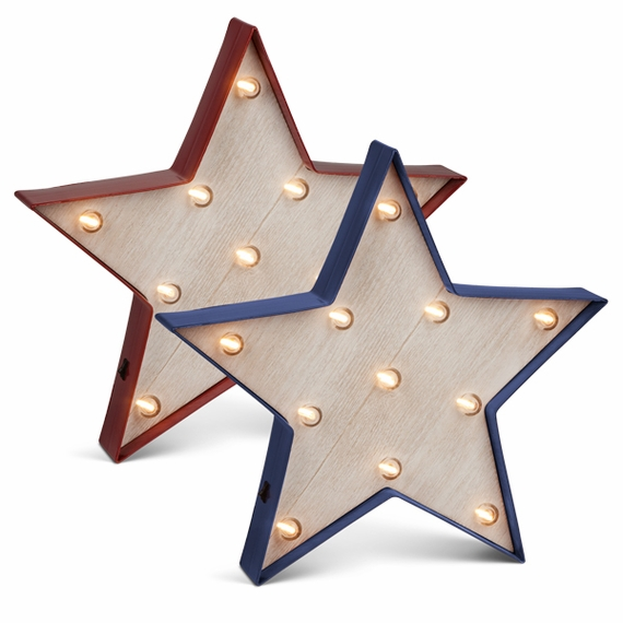 Vintage Style Marquee LED Lighted Star Symbol, Red and Blue, Set of 2 - Plastic Body