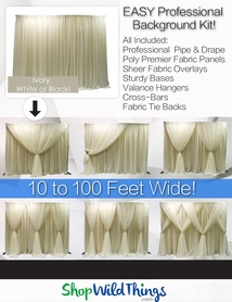 Pipe & Drape Backdrop Kit With Fabric Included - Professional Series - 8 Feet Tall