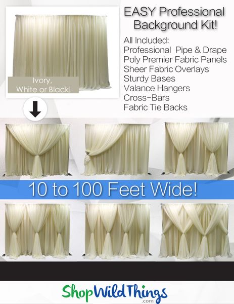 (FREE SHIPPING!) Pipe & Drape Backdrop Kit With Fabric Included - Professional Series - 8 Feet Tall