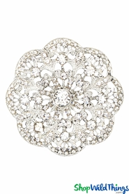 "Brooch Favor Decor ""Wendy"" - 2 1/4"" Rhinestone Flower - Silver"