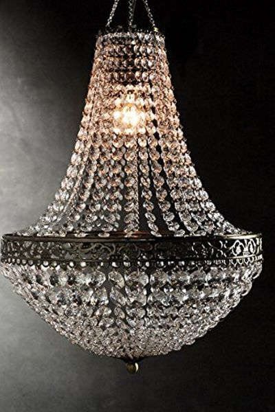 "Chandelier ""Renaissance"" - Large Beads & Ornate Metal Trim - 18"" x 14"""