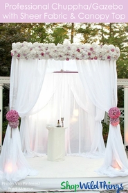 (FREE SHIPPING!) Wedding & Event Canopy Professional Series With Sheer Curtains & Top Canopy - 8' Tall by 6'-10' Wide