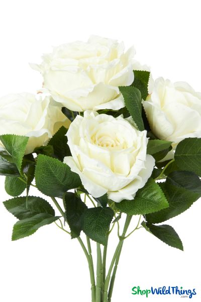 "Silk Rose Bouquet - Ivory Spray - 21 1/2"" - 7 Heads - BUY MORE, SAVE MORE!"