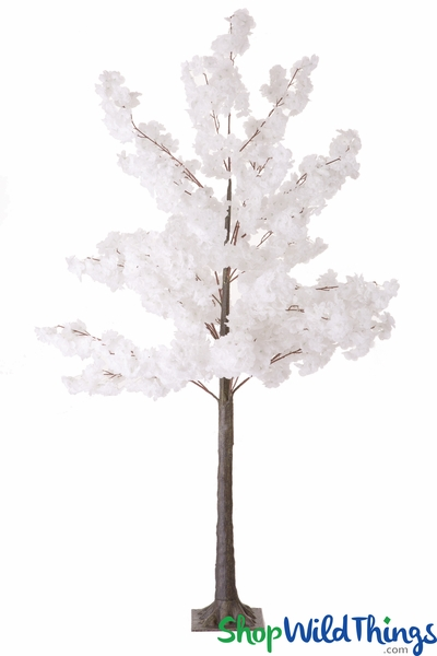 Flowering Cherry Blossom Tree Bendable Branches - 6' Tall - Pure White