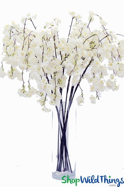 "Artificial Cherry Blossom Branch - 53"" Long - Bendable - White"
