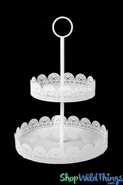 White Eyelet Two Tier Treat Stand - Metal