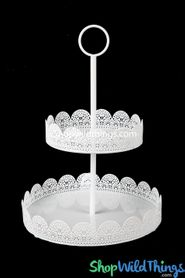 White Eyelet Two Tier Treat Stand - Metal (as low as $13.58)