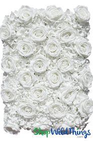 "Flower Wall 19"" x 25 1/2"" Premium Silk Roses & Hydrangeas - Pure White"
