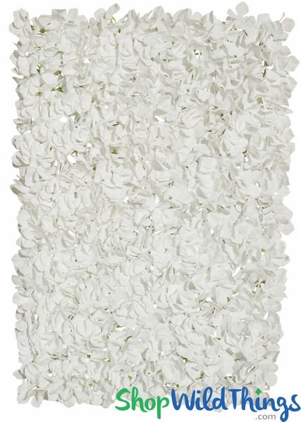 "Flower Wall 17"" x 25"" Silk Hydrangeas - White"