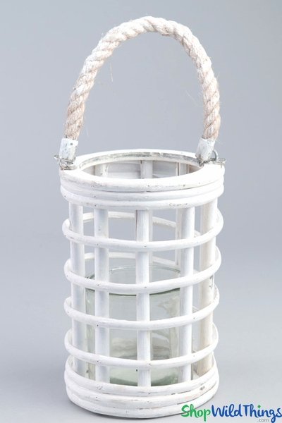 "Hanging Wooden Candle Lantern Cylinder - White 8"" - BUY MORE, SAVE MORE!"