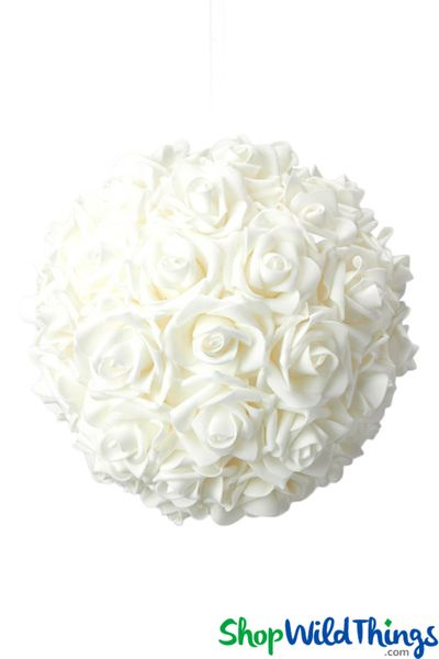 "Real Feel Flower Ball - Foam Rose - Pomander Kissing Ball - 9 1/2"" White - BUY MORE, SAVE MORE!"
