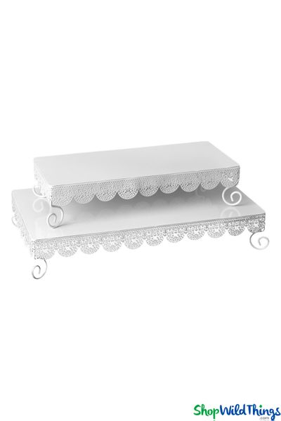 White Eyelet Dessert & Treat Server Set - Metal - 2 Pcs